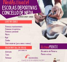 O Concello incorpora novas  actividades para nenos e nenas en NedActívate, a programación deportiva municipal